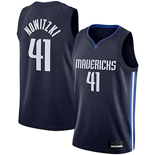 QGF Dallas Mavericks Jersey # 41 Dirk Nowitzki Camiseta Sin Mangas Retro Camiseta Cómoda Malla Bordada Chaleco Transpirable Fresco Black-M(175-180cm)