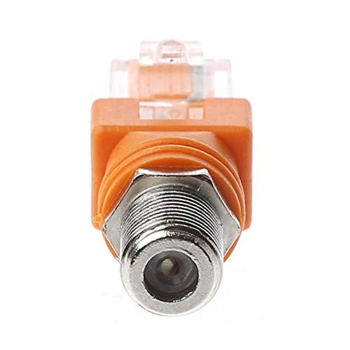 AERVEAL Adaptador convertidor, F Hembra a Rj45 Adaptador acoplador de Barril coaxial Macho Rj45 a convertidor de Conector RF
