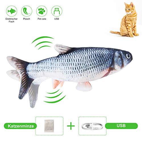 Comgoo Spielzeug mit Katzenminze Elektrisch Fisch, Katze Interaktive Spielzeug, Simulation Fisch Interaktives Spielzeug, Kauspielzeug Katze mit USB Ladegerät und Katzenminze, Gefüllter Plüsch Kinder