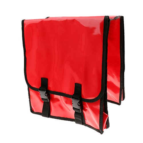 Hellery Bolsa Alforja Doble, Impermeable, Rojo, 380x320x30mm / 15x13x1.2 Pulgadas.