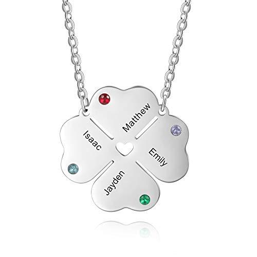 DaMei Collar Mujer Personalizado con 2-4 Nombre Collares Plata Acero Inoxidable con 2-4 Piedras Regalo para Novia BFF Grabado Personalizadas