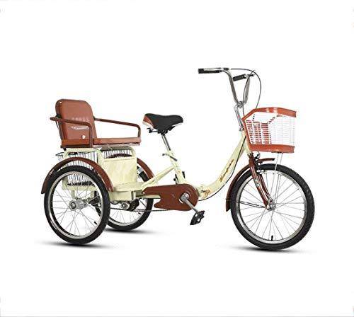 Triciclo AdultoBicicleta Triciclo para Adultos Pedal de 3 Ruedas Bicicleta pequeña de Doble Cadena Scooter Viejo con Motor Asiento Trasero Ancho y Grueso Cesta de Almacenamiento ampliada Marco