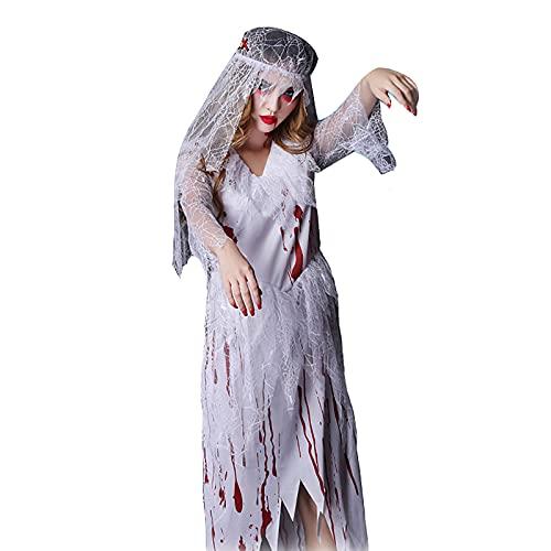 Disfraz de novia gótica sangrienta, disfraz de zombi de Halloween, vestido de...