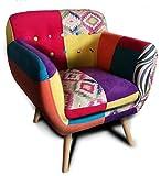 VOLERO' Shopping Online, Poltrona Patchwork Design, Modello Cassandra, Rivestimento in Stoffa e Velluto Multicolore, Struttura in Legno.