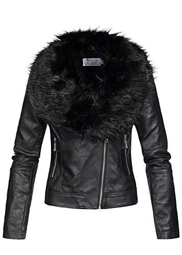 Hailys Damen Kunstlederjacke abnehmb. Kunstfell 2 Taschen asymmetrischer Zipper schwarz, Gr:XL