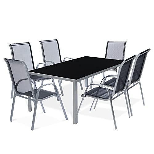 IDMarket - Ensemble de Jardin Madrid Table 150 CM et 6 chaises empilables