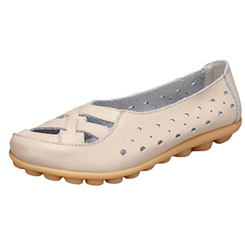 Vogstyle Damen Neu Hohl Mokassins Flach Loafer Slipper Schuhe Style 2-Beige UK5/EU38/CH39