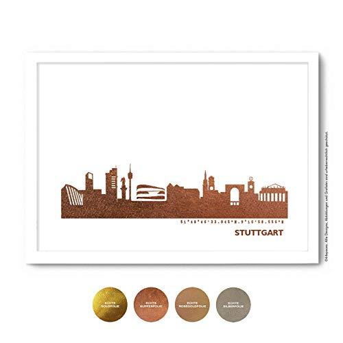 Stuttgart Skyline Bild Wandeko, Personalisierte Geschenkidee für Besondere Anlässe in S/W Rose Gold Silber Kupfer - Pesönlicher Text & Rahmen A4/A3