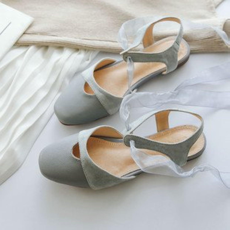 Xue Qiqi Court Schuhe Einzelne Schuhe Flache Unterseite Unterseite Unterseite Butt, Quadratischen Kopf Licht der Baotou Kunst Bow Tie Strap Sandals Weiblich  0e7882