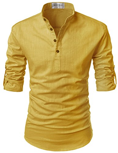 TheLees (NKN350) Transform Roll-Up Sleeve Mandarin Henley Neck Linen Shirts MUSTARD US...