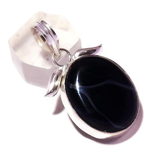 Jewels House Colgante de ágata con cabujón de ágata de ónix negro chapado en plata hecho a mano
