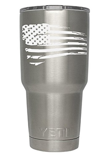 USA Flag Tattered (white) Decals for Yeti cups - Car Sticker - Car Decal - Window Sticker for Tumbler, Cup, Car, Truck, Wall, Notebook, SUV, Computer, Laptop, Motorcycle, Helmet (White)