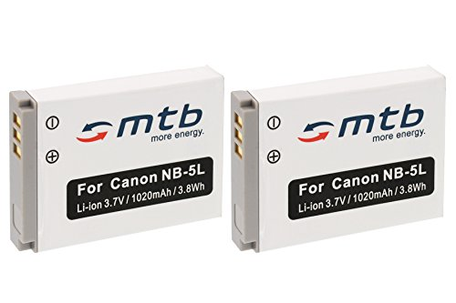 2X Batería NB-5L para Canon PowerShot SX200IS, SX210IS, SX220HS, SX230HS. Ver...