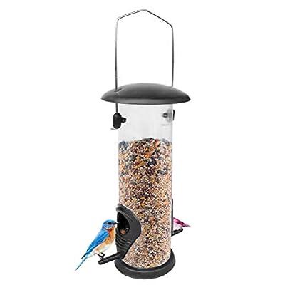 Mekta Bird House Hanging Bird Feeder Iron Cover Bottom Bird Feeder PVC Bird Feeder Wild Bird Feeder by Mekta