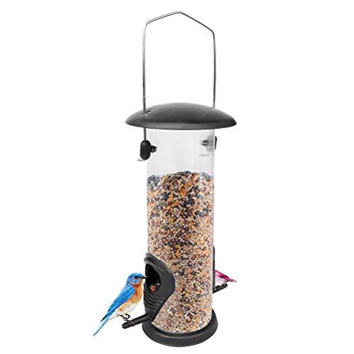 SAMTITY Hängender Wild Vogelfutter Automat für Mix-Samen-Mischungen, Mini-Futterautomat mit Aufhänger, Niger-Futterautomat, Sonnenblumenherz, Vogelbad, Anti-UV-Lackierung