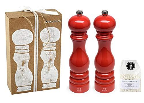 Peugeot Set Paris Salzmühle und Pfeffermühle Mohn rot 22 cm Peugeot Paris mit 100 gr. Salz im Dekomiro Geschenkset