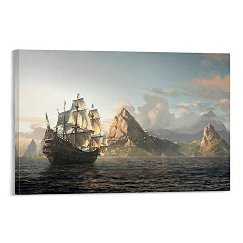 Bilder Kunst Handwerk für Zuhause Wanddekoration Geschenk Assassin's Creed Schwarze Flagge Spielszenen Boote am Meer Kunstwerk für Wohnzimmer Schlafzimmer 60 x 90 cm