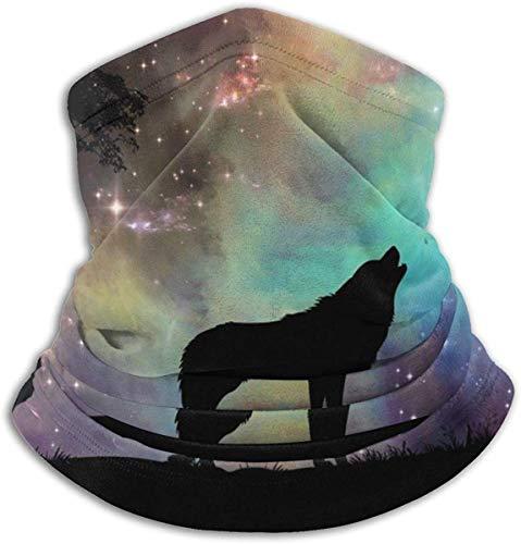LiGHT-S NeckScarf Multifunction Der Wolf kreischt unter dem Sternenhimmel Wendbares Ohrstirnband Ultimative Wärmespeicher-Vielseitigkeit für den Menschen Schwarz