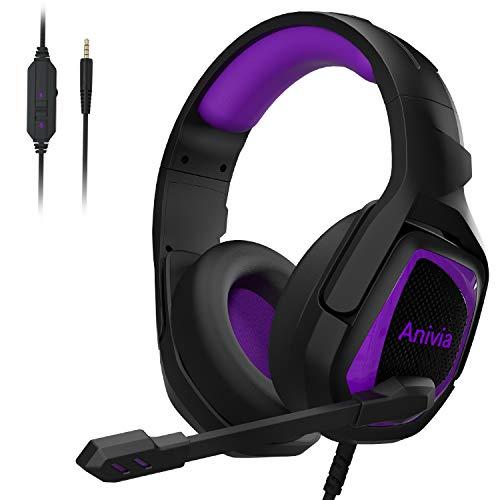 Gaming Headset für P-S4 Kopfhörer mit Mikrofon Headphone Soft Memory Ohrenschützer über Ohr Kopfhörer mit Mikrofon Stereo Bass Surround für PS-4 PC Controller Laptop Mac MH602 Lila