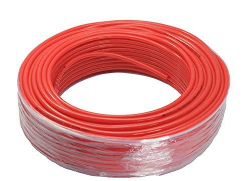 Tubo de teflón neumático de teflón, 10 x 8 mm, color rojo, rollo de 100 m