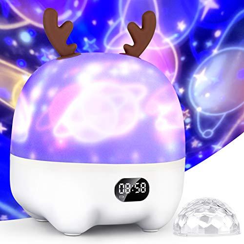 LED Sternenhimmel Projektor Kinder Nachtlicht, Galaxy Projector 360°Drehen,7 Farben von Lichtern mit Bluetooth-Lautsprecher, Uhr und Alarm