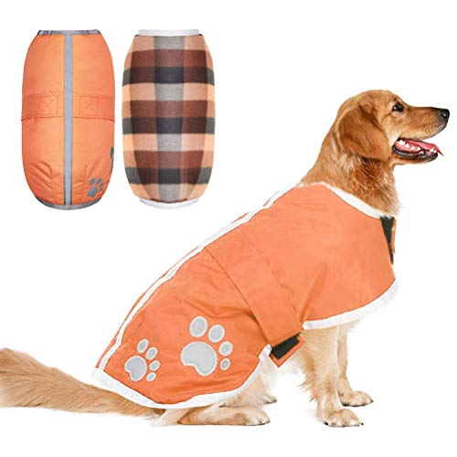 PUPTECK Reversible Dog Winter Clothes Waterproof Reflective Cold Weather Jacket Extra Large Orange