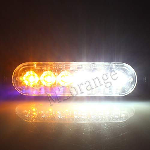 Generic MZORANGE 12V-24V 19 Patterns Led Strobe Warning Light Strobe Grille Flashing Lightbar Truck Car Beacon Lamp Amber Traffic light Emitting Color White and Amber Color Temperature 4 Pieces