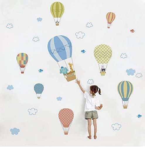 Nube blanca Globo de aire caliente etiqueta de la pared dormitorio del bebé decoración de la habitación de los niños papel tapiz decoración del hogar mural extraíble stickers30cm * 90cm