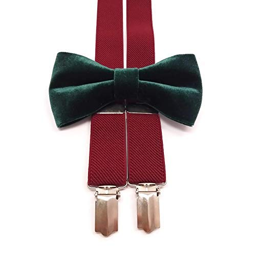 MARSALA ELASTIC Y-back suspenders and Fresno Mall Max 88% OFF GREEN bow t Velvet Emerald