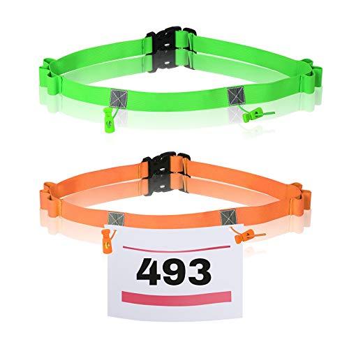 TAZEMAT 2 Pezzi Cintura di Numero da Gara Cintura da Triathlon Cintura Elastica per Gli Atleti Porta Gel Cintura Portanumero Maratona Corsa Ciclismo (Arancione Verde)