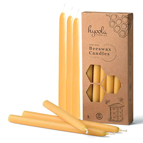 Hyoola 9 Inch Beeswax Taper Candles 12 Pack - Handmade, All Natural, 100% Pure Unscented Bee Wax Candle - Tall, Decorative, Golden Yellow - 5 Hour Burn Time