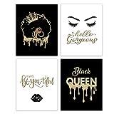 HUYAW Black Queen Woman Girl Wall Art Prints Set of 4, Inspirational Posters Gifts for Black Women Girls Room Home Bedroom Wall Art Decor (8 x 10 Unframed)