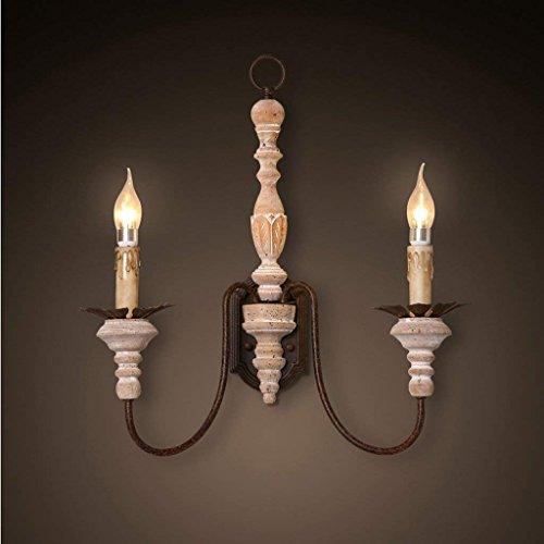 DSJ dubbele kaars wandlamp Frans restaurant wandlamp gang bedlampje creatieve ijzeren massief houten wandlamp
