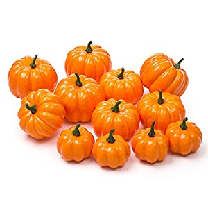 Ogrmar 12 Pack Artificial Assorted Pumpkins, Mini Fake Pumpkins Artificial Vegetables for Halloween,Harvest Thanksgiving Party Decor