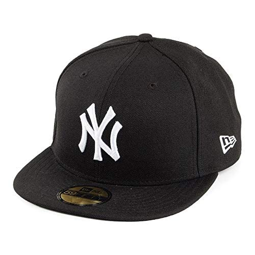 New Era MLB Basic NY Yankees 59Fifty Fitted - Cappello con visiera, Nero (Black/White), 6 3/4