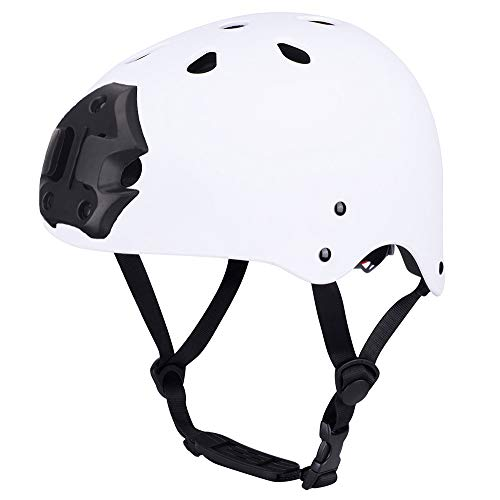 ipoob Adult Kayaking Canoe Whitewater Watersports Helmet with Camera Clamp Mount Plate (Matte White, Large)