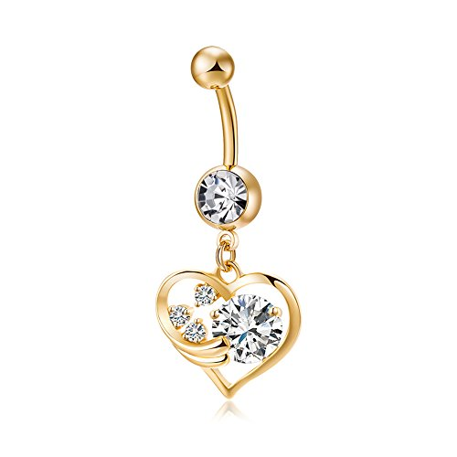 Elegante anillo de ombligo con forma de corazón con circonita (dorado)
