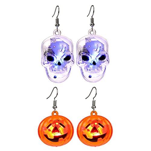 2 pares de pendientes de calavera iluminados con LED, accesorios de fiesta de discoteca colgante de calabaza, pendientes luminosos que brillan en la oscuridad, pendientes de Halloween para mujer