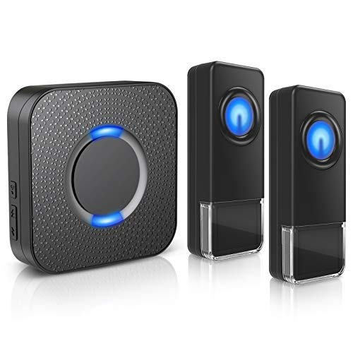 Wireless Doorbell - Waterproof Door Bells Chimes Wireless Kit, 1000 Ft Operating Range Door Alarm With 5 Volume Levels (Mute Mode) 58 Melodies & Led Flash For Home Apartment (2 Button+1 Receivers)
