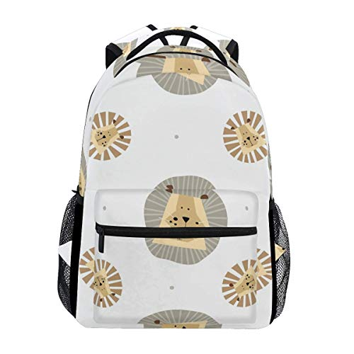 Daypack Cute Lion Animal Printed Gift School Student Durable Lightweight Unique Backpack Casual College Stylish Shoulder Bag Travel Bookbag