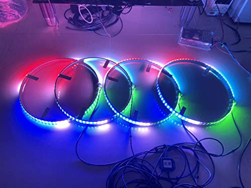 4PCS 15.5'' Adjustable Wheel Lights Flow Chasing Series Double Row Chasing Strobe Tire KIT LED Wheel Rim Light UP for Truck Car Bluetooth Controlled