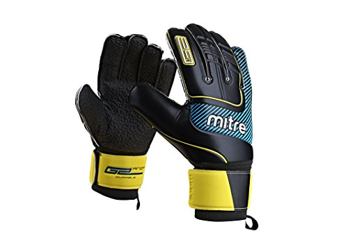 Mitre Anza G2 Durable Torwarthandschuhe, Black/Cyan/Yellow, Size 11