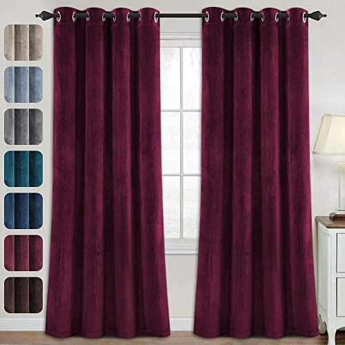 Luxury Velvet Curtains for Living Room 84 Inches Room Darkening Super Thick Soft Velvet Textured Window Curtain Drapes Thermal Insulated Grommet Decoration 2 Panels, Each 52 x 84 Inch, Burgundy