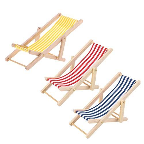 U/K Puppenhaus Miniatur Seaside Beach Liegestuhl gestreift faltbar 3 Stück langlebig und nützlich