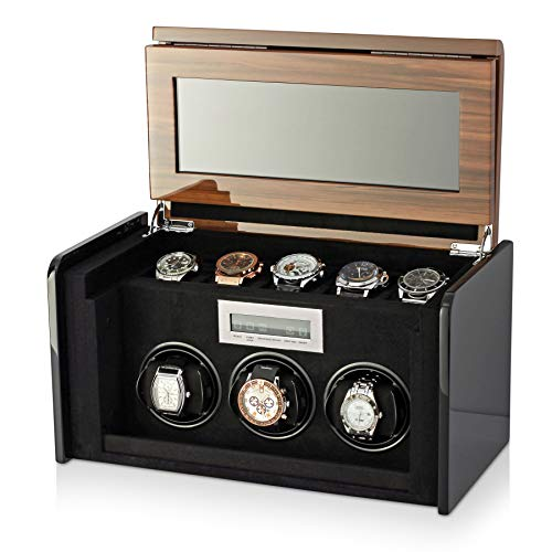 3+5 Watch Winder Box for Self-Winding up to 3 Automatic Watches with LED Case Backlight, LCD Touchscreen Display and 5 Watches Storage Compartment for All Watch Brands and All Watch Sizes (Walnut)