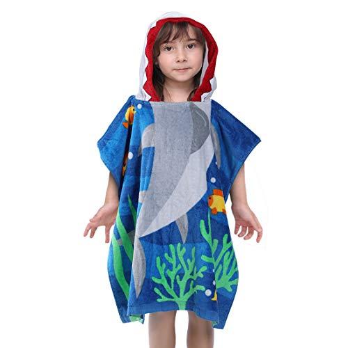 RainBabe Badetuch Kinder Badeponcho mit Kapuzen Handtuch Baumwolle Bademantel Strandtuch für Mädchen Jungen Hai Cartoon Print