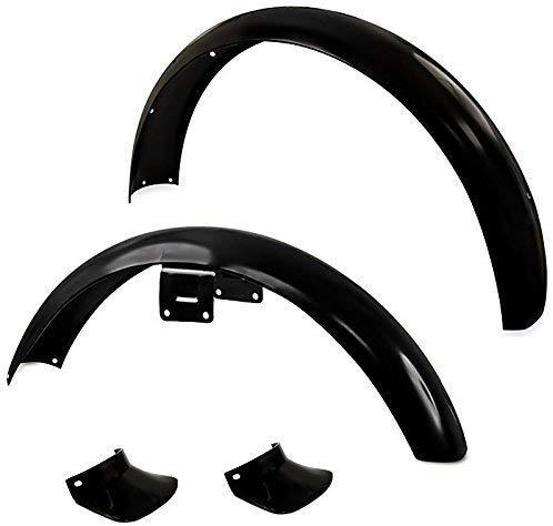 SET: Kotflügel Schutzblech vorn & hinten Schwarz Pulverbeschichtet + Schmutzfänger + Normteile für Simson S50 S51 S70