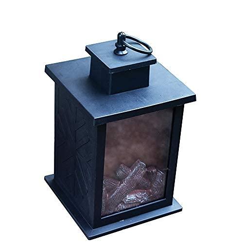 GGHKDD - Farol de chimenea portátil LED, vela sin llama, soporte de carbón vegetal, lámpara de llama para Halloween y Navidad