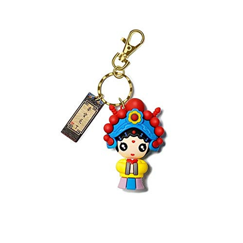 Colgante de llavero de la muñeca retro del estilo chino, colgante del llavero del coche for hombres y mujeres, encanto lindo del bolso, llavero de moda Regalo La mejor opción para regalos