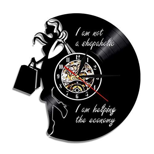 LBJZD Reloj de Pared Reloj De Pared con Disco De Vinilo para Mujer Adicta A Las Compras, Luz Led Vintage para Mujer, Regalo Hecho A Mano para Novia, Arte De Pared, Decoración del Hogar Sin Luz Led